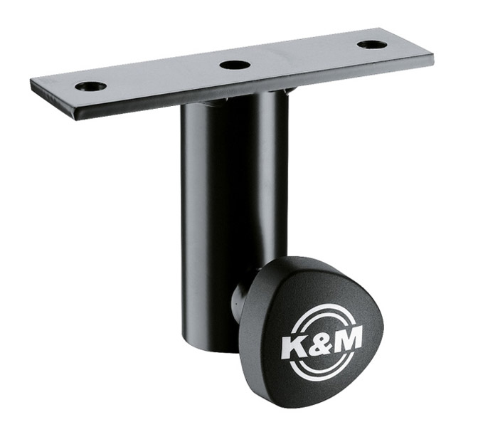K&M - 24281-000-55 - Attachable to speakers. Slip-on adapter for speaker stands with tube-diameter 35 mm. With 2 drill holes diam. 11 mm at intervals of 115 mm and locking device.